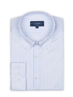 Germirli - Germirli Non Iron Beyaz Mavi Çizgili Düğmeli Yaka Tailor Fit Journey Gömlek (1)