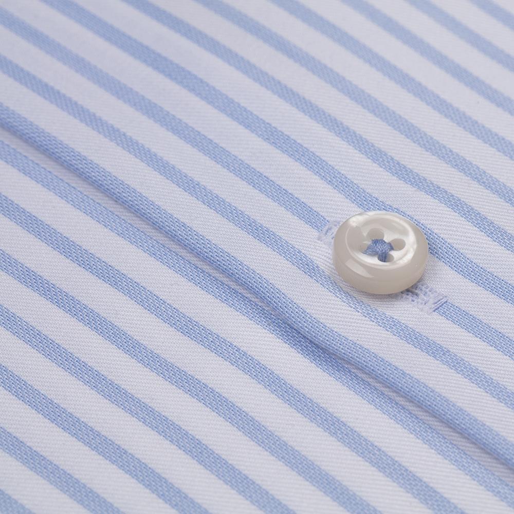 Germirli Non Iron Beyaz Mavi Çizgili Düğmeli Yaka Tailor Fit Journey Gömlek