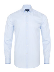 Germirli - Germirli Non Iron Beyaz Mavi İnce Çizgili Düğmeli Yaka Tailor Fit Journey Gömlek