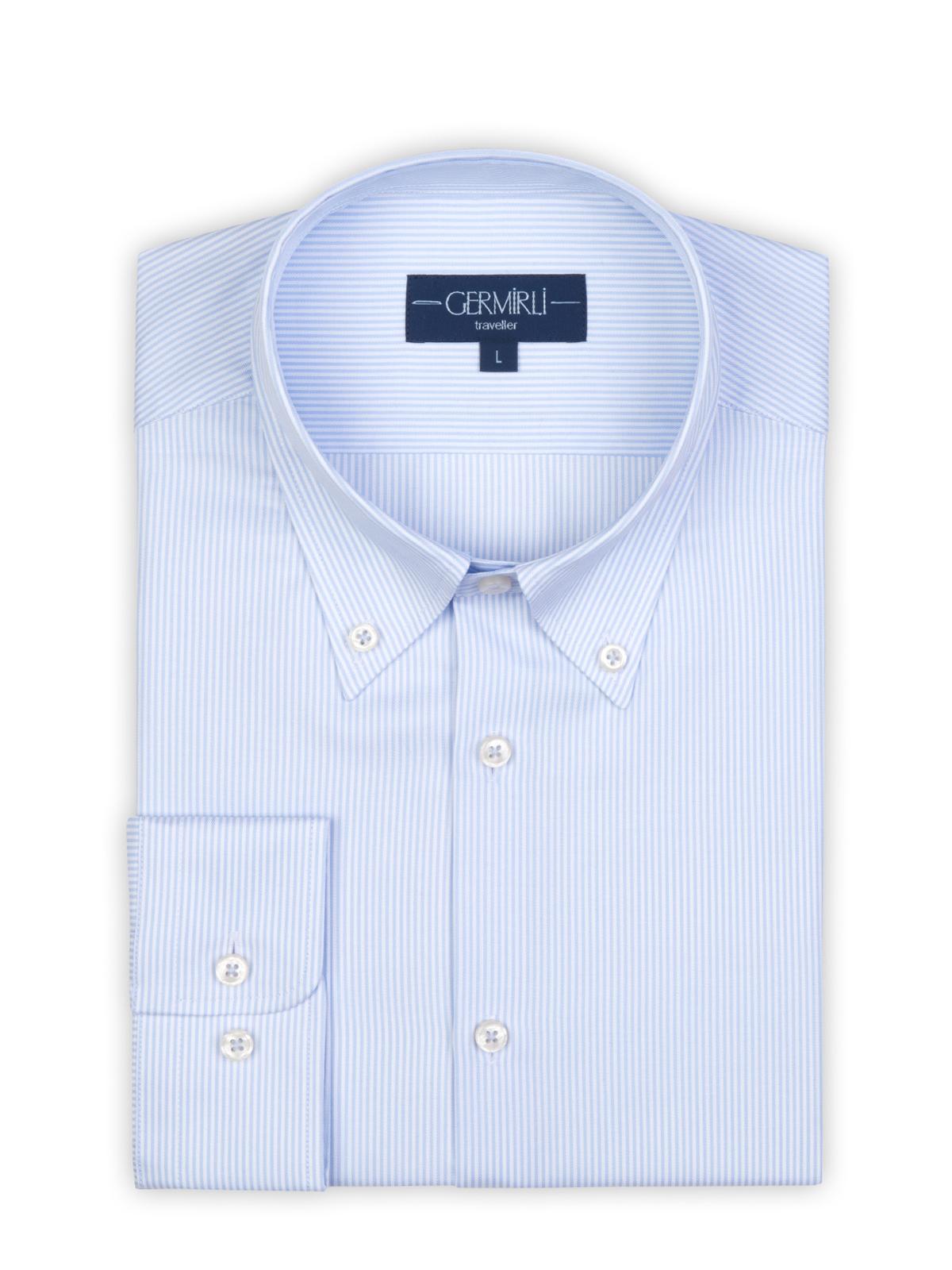Germirli Non Iron Beyaz Mavi İnce Çizgili Düğmeli Yaka Tailor Fit Journey Gömlek
