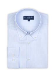 Germirli - Germirli Non Iron Beyaz Mavi İnce Çizgili Düğmeli Yaka Tailor Fit Journey Gömlek (1)
