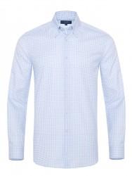 Germirli - Germirli Non Iron Beyaz Mavi Kareli Düğmeli Yaka Tailor Fit Journey Gömlek