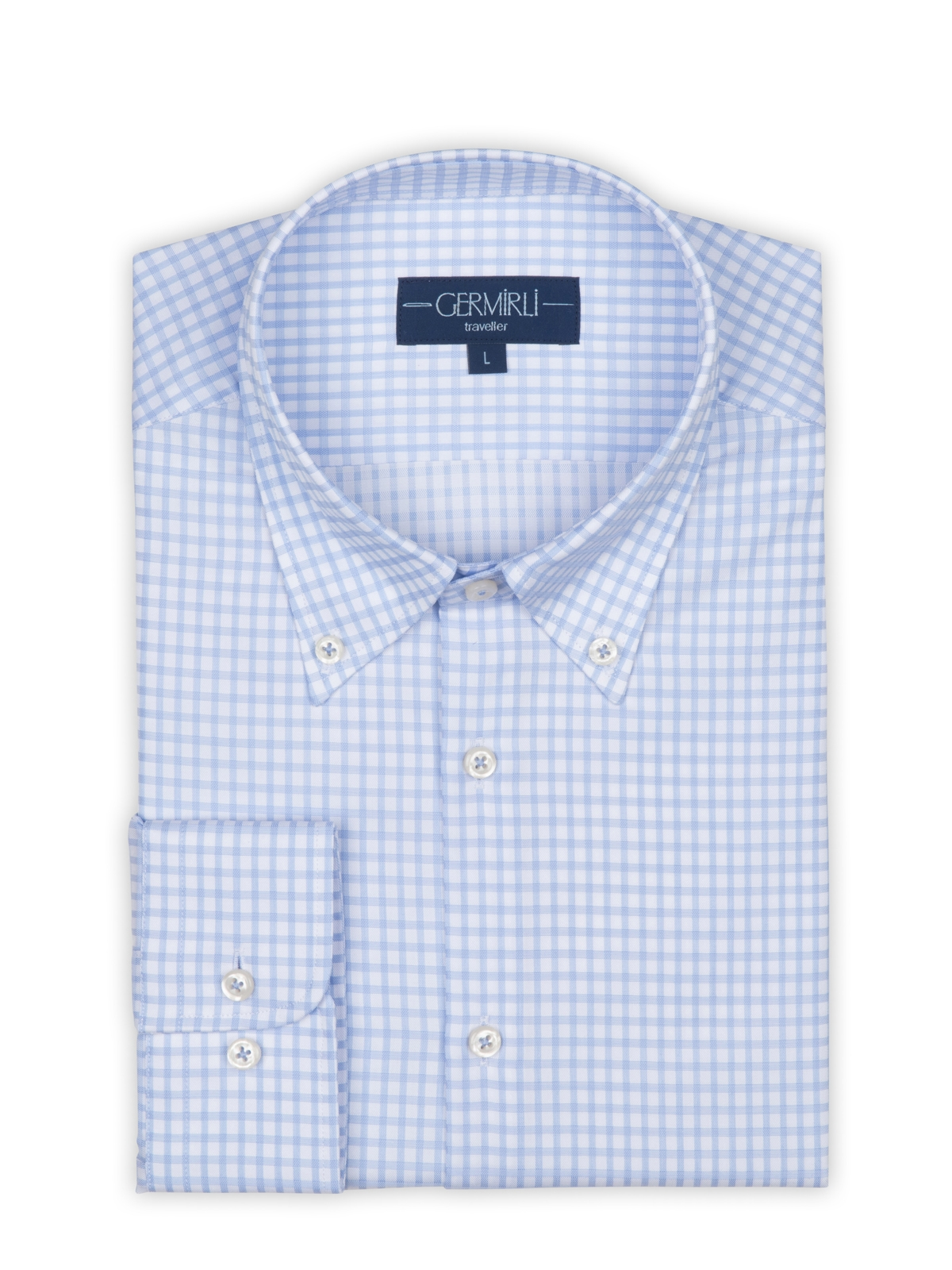 Germirli Non Iron Beyaz Mavi Kareli Düğmeli Yaka Tailor Fit Journey Gömlek
