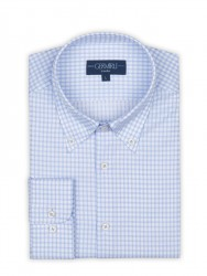 Germirli - Germirli Non Iron Beyaz Mavi Kareli Düğmeli Yaka Tailor Fit Journey Gömlek (1)