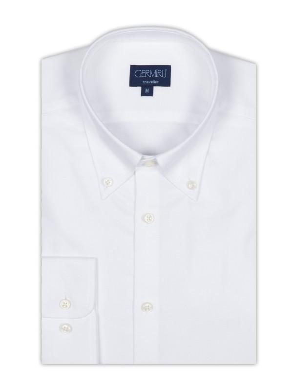 Germirli - Germirli Non Iron Beyaz Oxford Düğmeli Yaka Tailor Fit Gömlek (1)