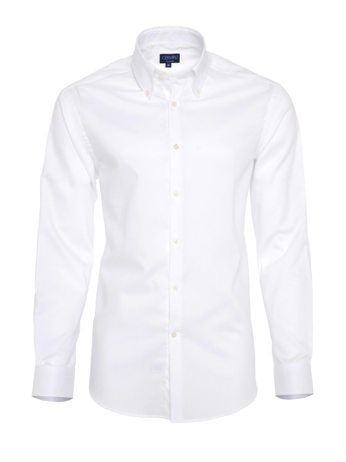 Germirli Non Iron Beyaz Oxford Düğmeli Yaka Tailor Fit Gömlek