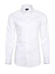 Germirli - Germirli Non Iron Beyaz Oxford Düğmeli Yaka Tailor Fit Gömlek