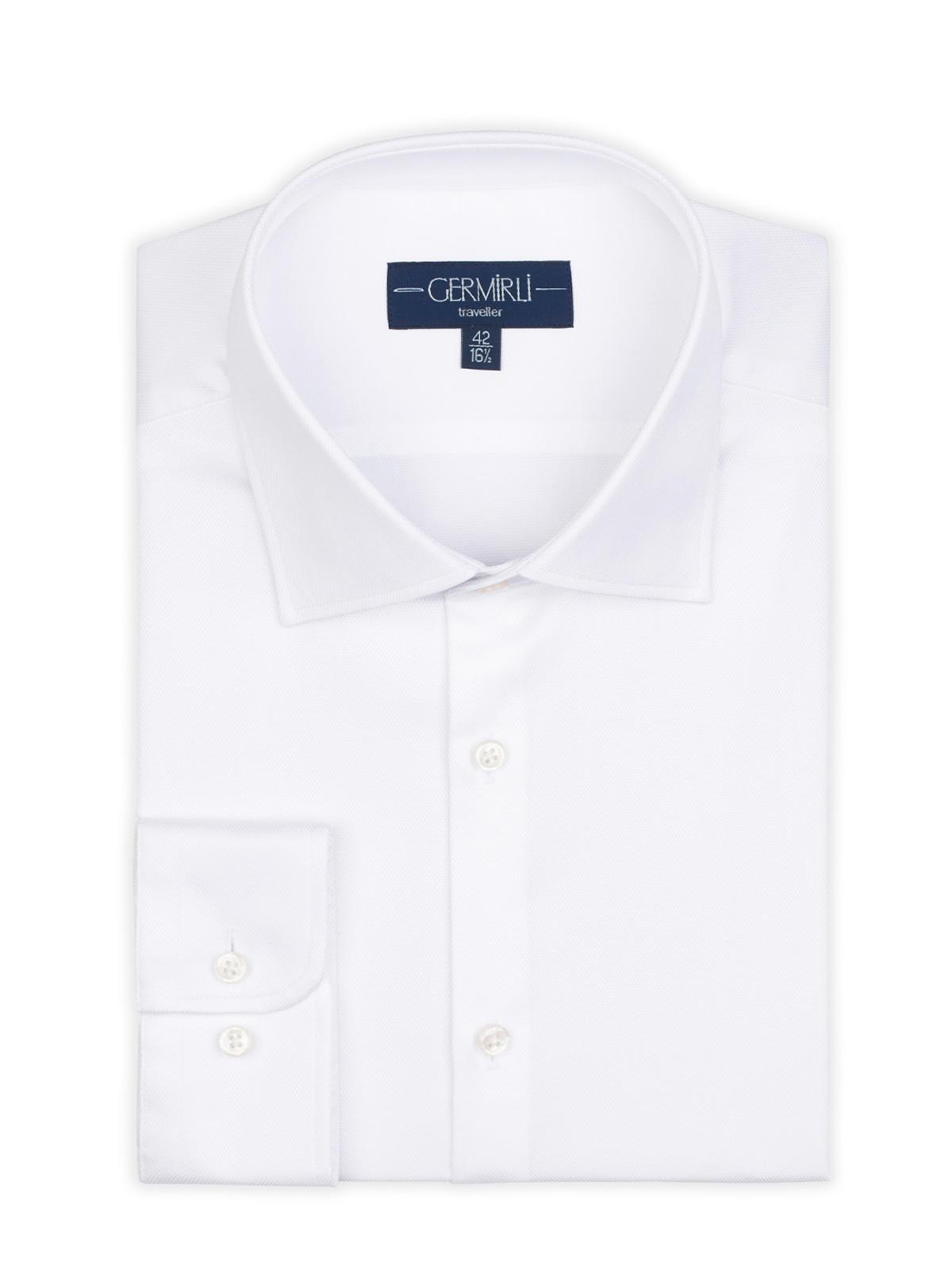 Germirli Non Iron Oxford Beyaz Klasik Yaka Tailor Fit Journey Gömlek