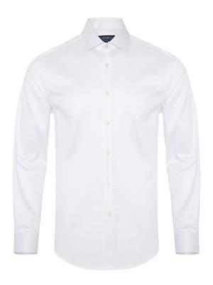 Germirli - Germirli Non Iron Oxford Beyaz Klasik Yaka Tailor Fit Journey Gömlek