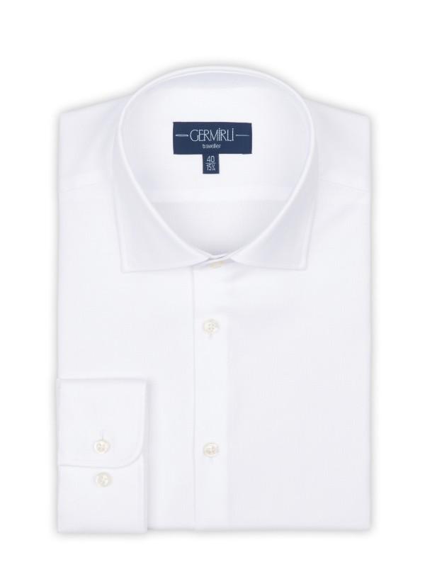 Germirli - Germirli Non Iron Beyaz Oxford Klasik Yaka Tailor Fit Journey Gömlek (1)