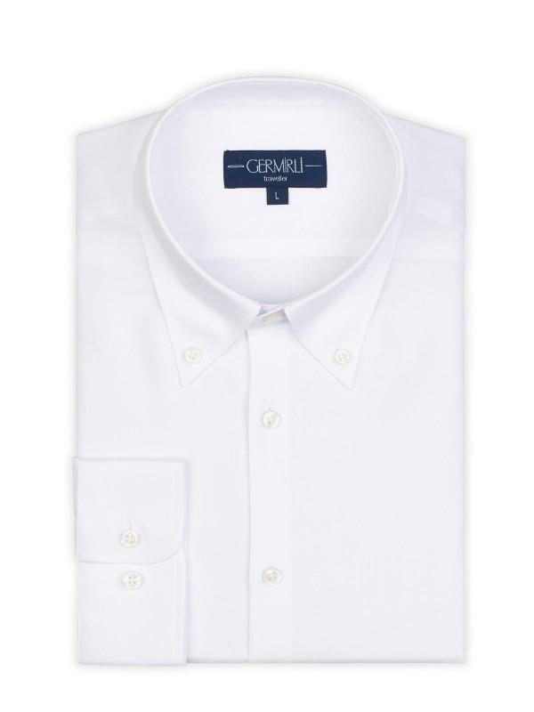 Germirli - Germirli Non Iron Beyaz Panama Düğmeli Yaka Tailor Fit Zero 24 Gömlek (1)