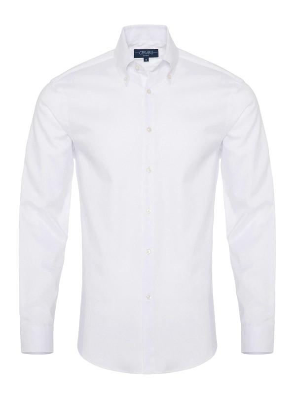 Germirli - Germirli Non Iron Beyaz Panama Düğmeli Yaka Tailor Fit Zero 24 Gömlek