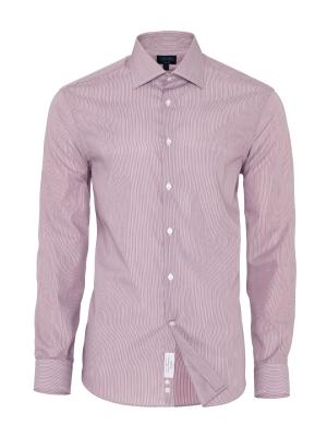 Germirli - Germirli Non Iron Beyaz Pembe Çizgili Klasik Yaka Tailor Fit Swiss Cotton Gömlek