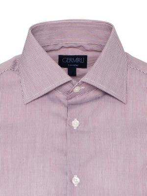 Germirli - Germirli Non Iron Beyaz Pembe Çizgili Klasik Yaka Tailor Fit Swiss Cotton Gömlek (1)