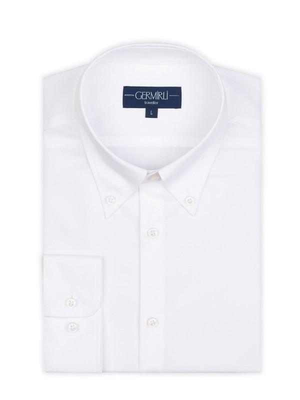 Germirli - Germirli Non Iron Beyaz Twill Düğmeli Yaka Tailor Fit Zero 24 Gömlek (1)