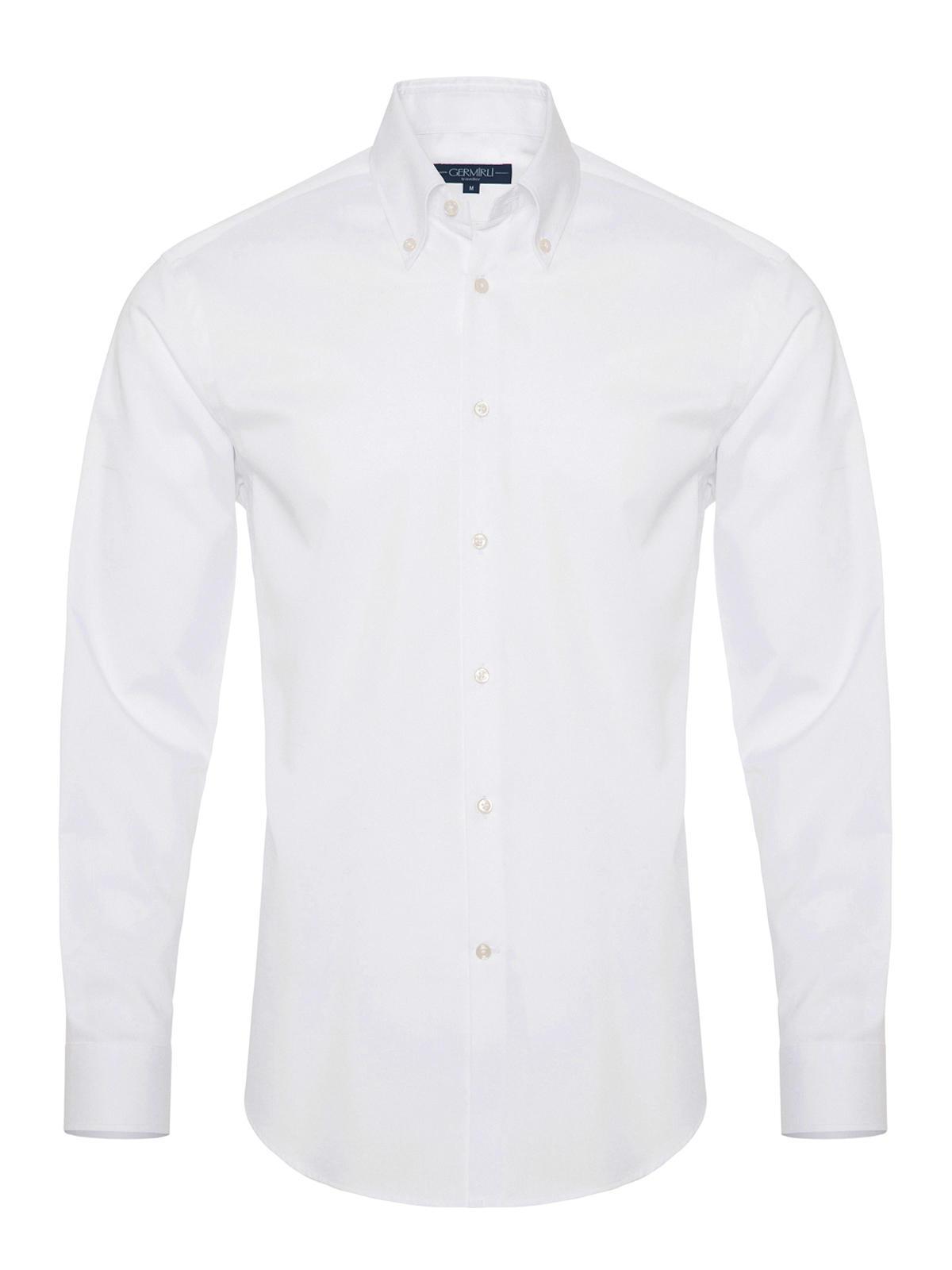 Germirli Non Iron Beyaz Twill Düğmeli Yaka Tailor Fit Zero 24 Gömlek