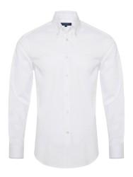 Germirli - Germirli Non Iron Beyaz Twill Düğmeli Yaka Tailor Fit Zero 24 Gömlek