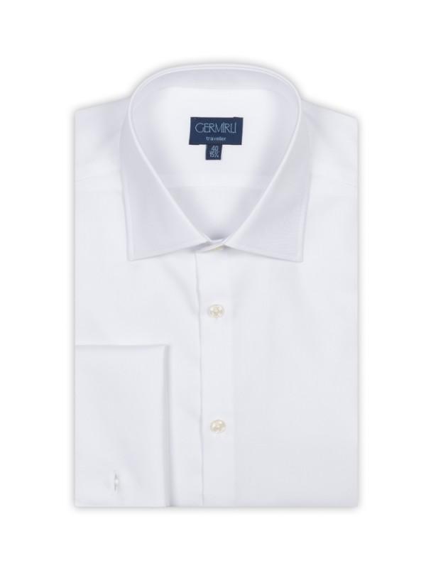 Germirli - Germirli Non Iron Beyaz Twill Klasik Yaka Duble Manşetli Tailor Fit Journey Gömlek (1)