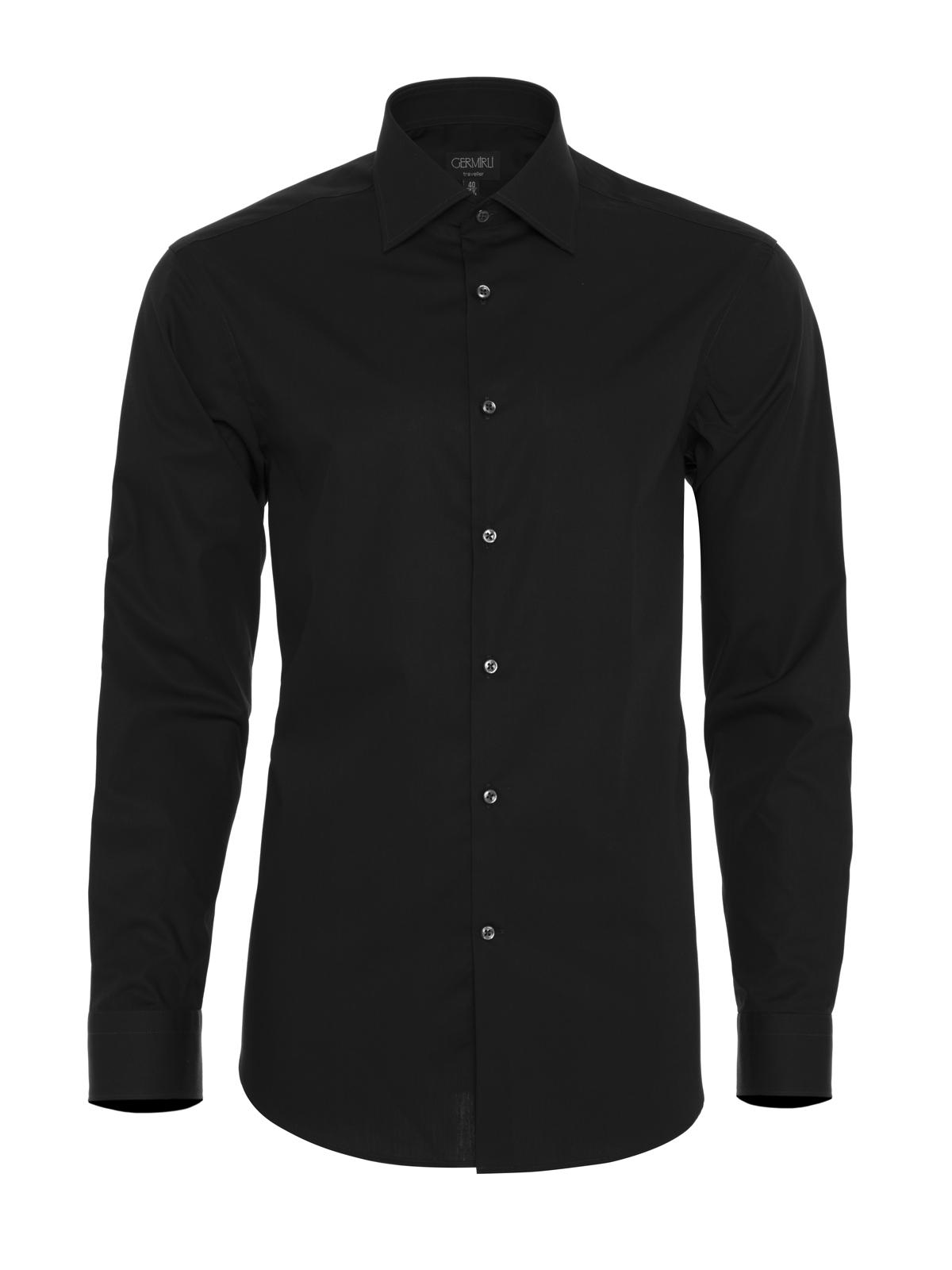 Germirli Non Iron Black Poplin Semi Spread Tailor Fit Shirt