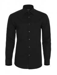 Germirli - Germirli Non Iron Black Poplin Semi Spread Tailor Fit Shirt