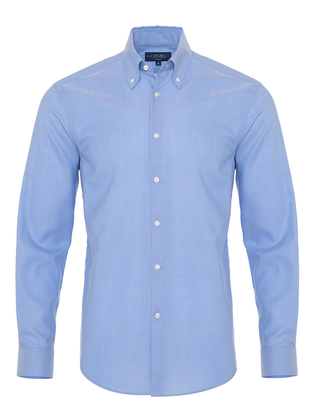 Germirli - Germirli Non Iron Blue Button Down Collar Tailor Fit Zero 24 Shirt