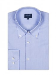 Germirli Non Iron Blue Oxford Button Down Collar Tailor Fit Shirt - Thumbnail
