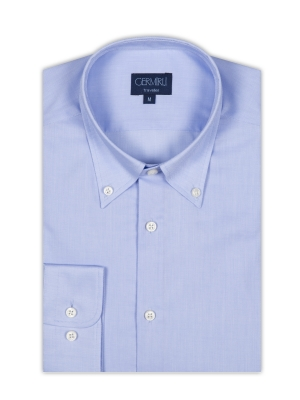 Germirli - Germirli Non Iron Blue Oxford Button Down Collar Tailor Fit Shirt (1)