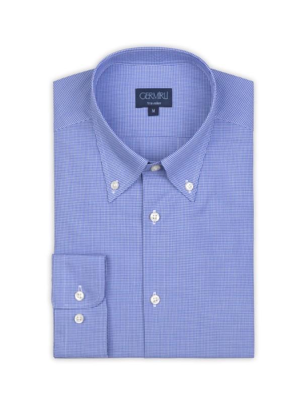 Germirli - Germirli Non Iron Blue Plaid Button Down Collar Tailor Fit Shirt (1)