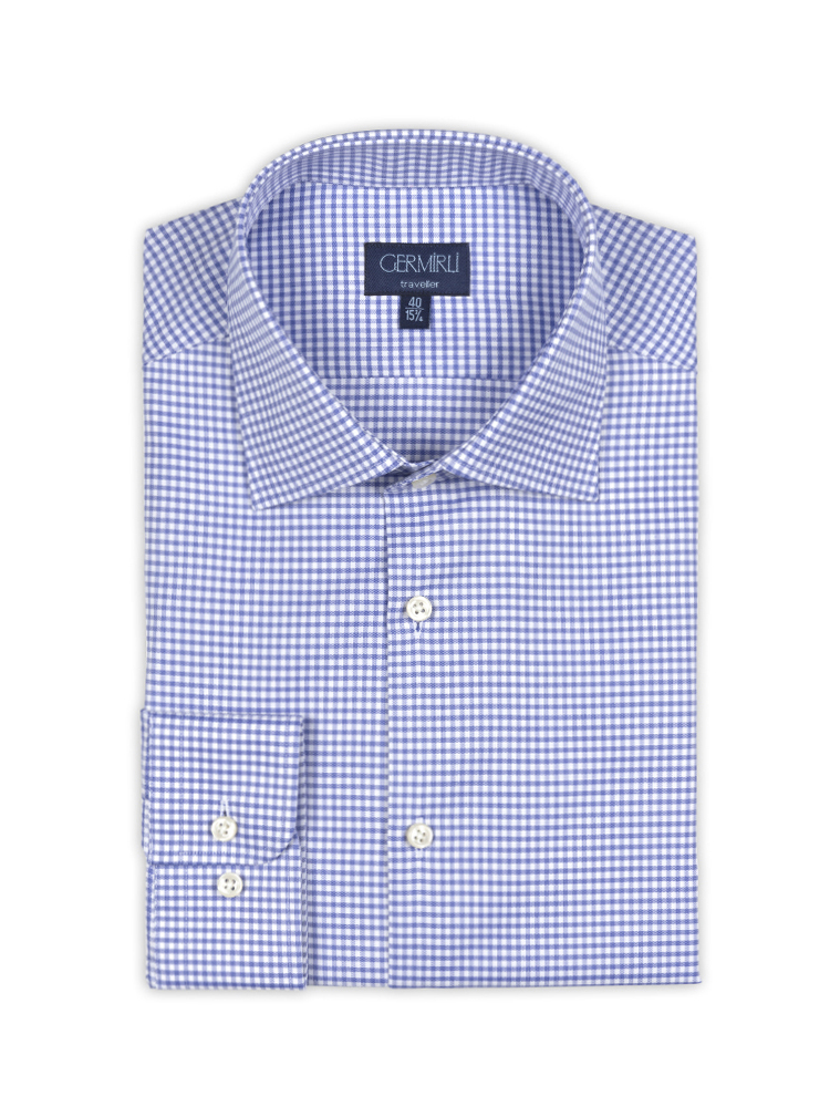 Germirli Non Iron Blue Plaid Semi Spread Tailor Fit Journey Shirt