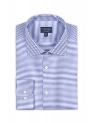 Germirli Non Iron Blue Plaid Semi Spread Tailor Fit Journey Shirt - Thumbnail