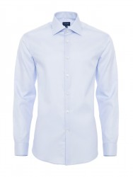 Germirli - Germirli Non Iron Blue Twill Semi Spread Tailor Fit Journey Shirt