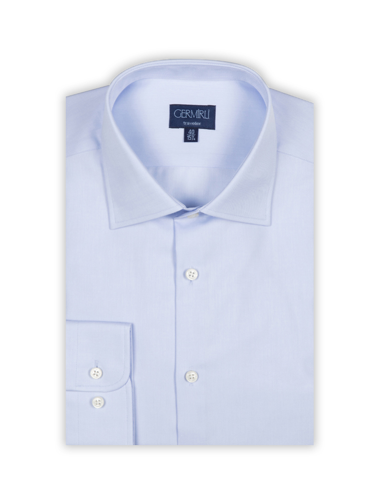 Germirli Non Iron Blue Twill Semi Spread Tailor Fit Journey Shirt