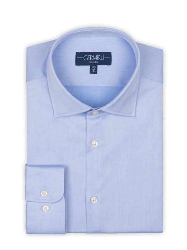Germirli - Germirli Non Iron Blue Twill Semi Spread Tailor Fit Shirt (1)
