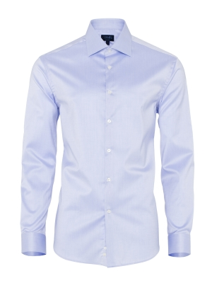 Germirli - Germirli Non Iron Blue Twill Semi Spread Tailor Fit Shirt