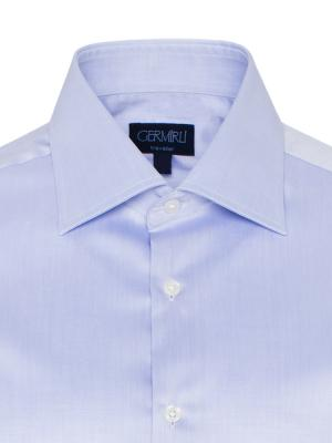 Germirli - Germirli Non Iron Blue Twill Semi Spread Tailor Fit Shirt (1)