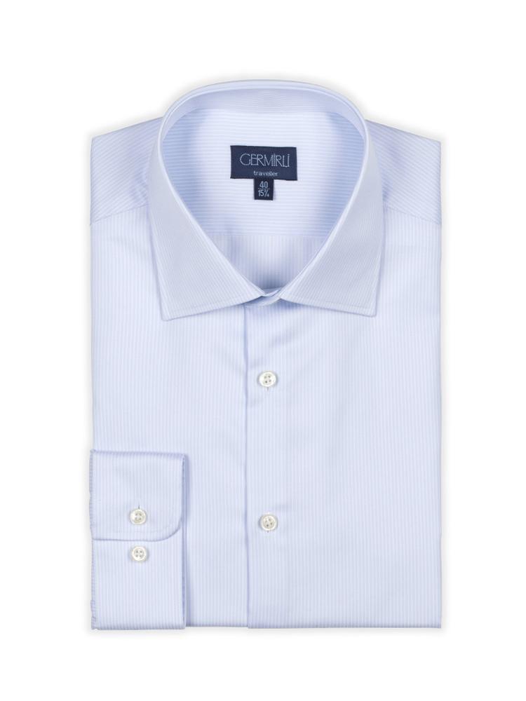 Germirli Non Iron Blue White Pencil Stripe Semi Spread Tailor Fit Journey Shirt