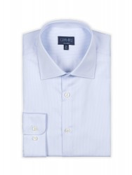 Germirli - Germirli Non Iron Blue White Pencil Stripe Semi Spread Tailor Fit Journey Shirt (1)