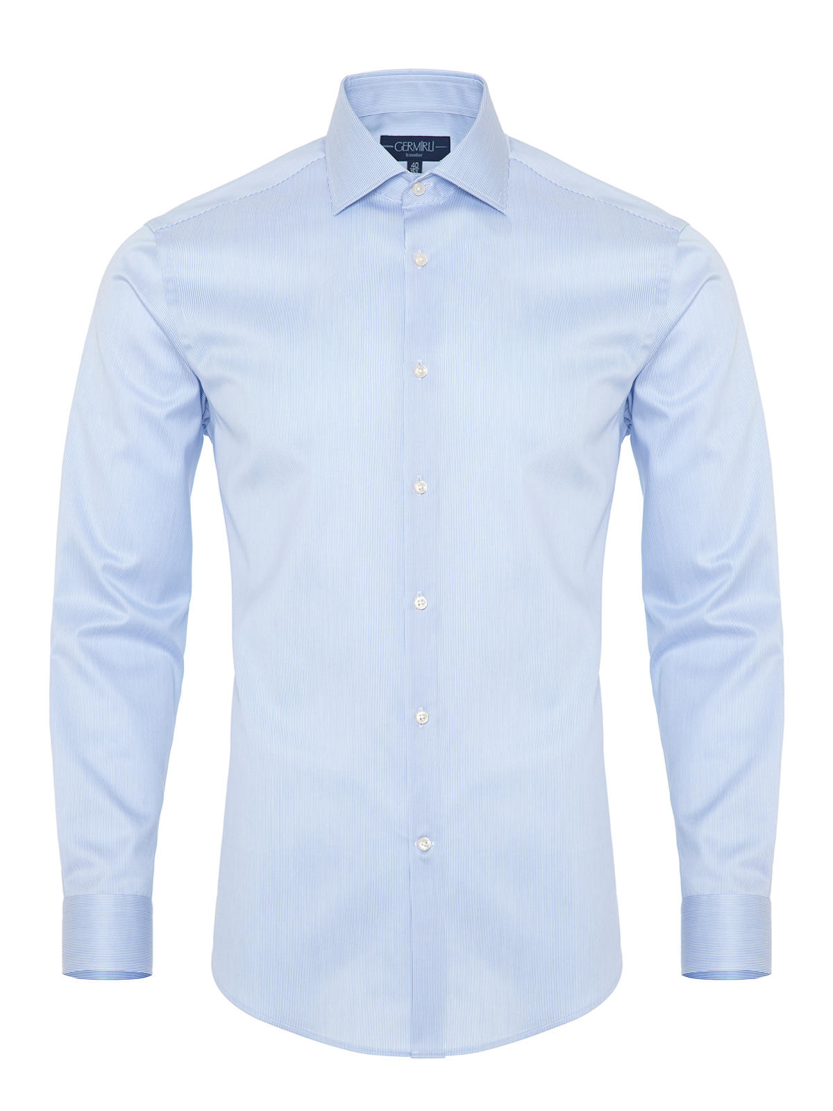 Germirli Non Iron Blue White Semi Spread Tailor Fit Journey Shirt