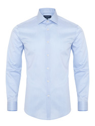 Germirli - Germirli Non Iron Blue White Semi Spread Tailor Fit Journey Shirt
