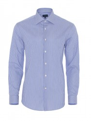 Germirli - Germirli Non Iron Dark Blue Pencil Stripe Tailor Fit Shirt