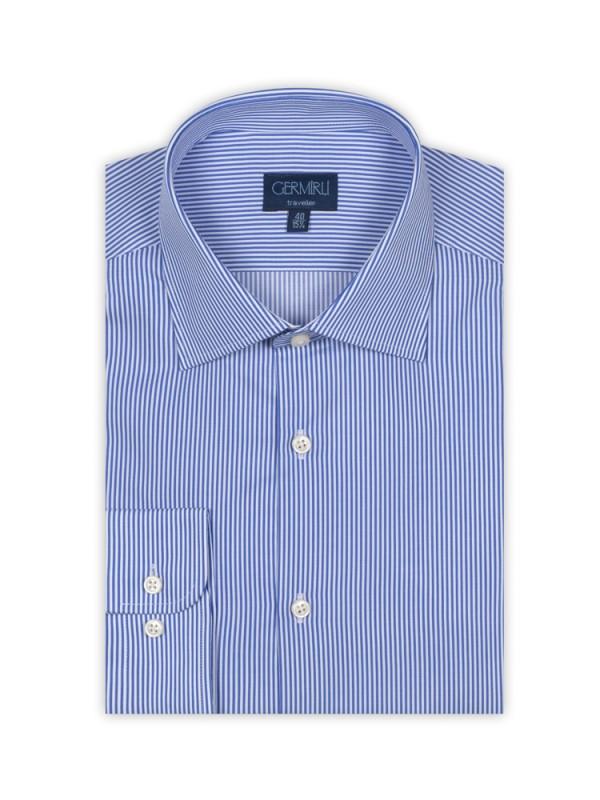 Germirli - Germirli Non Iron Dark Blue Pencil Stripe Tailor Fit Shirt (1)