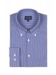 Germirli Non Iron Dark Blue Plaid Button Down Tailor Fit Shirt - Thumbnail
