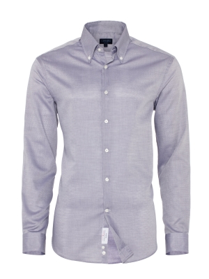 Germirli - Germirli Non Iron Gri Oxford Düğmeli Yaka Tailor Fit Swiss Cotton Gömlek