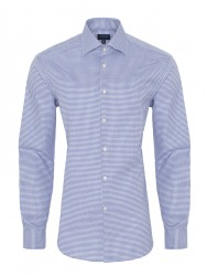 Germirli - Germirli Non Iron K.Mavi Beyaz Kareli Klasik Yaka Tailor Fit Journey Gömlek