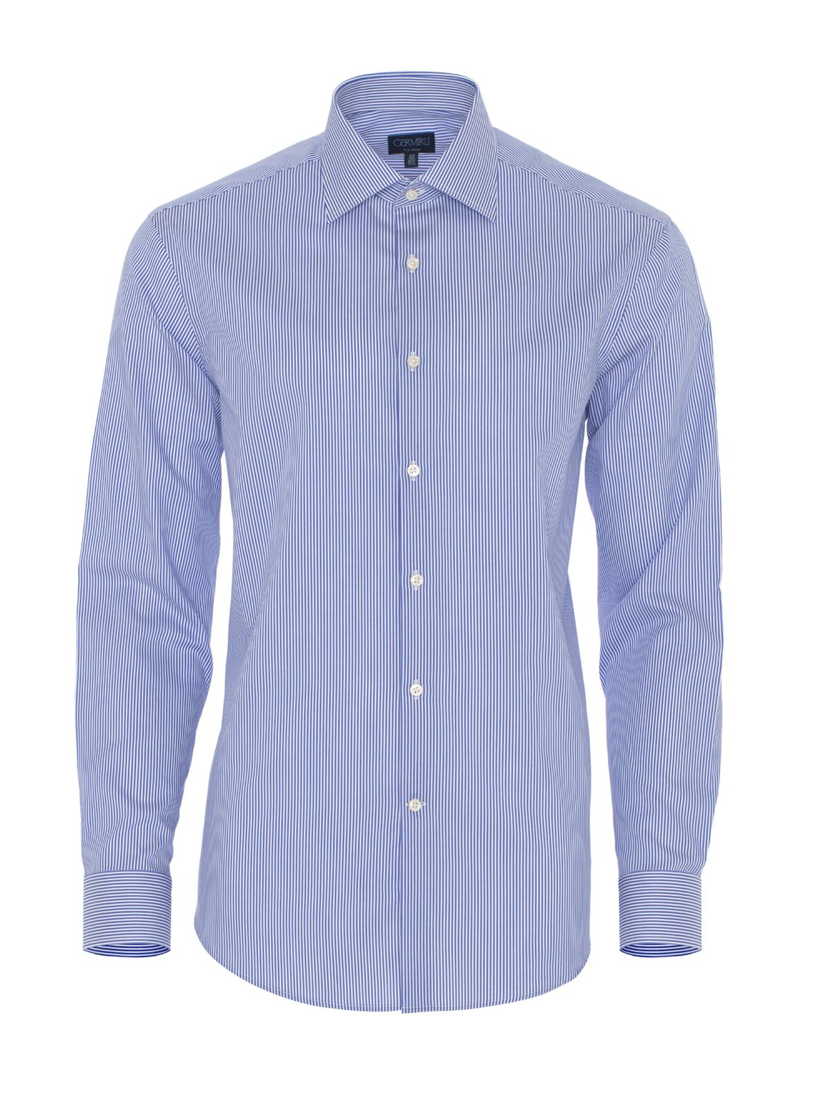 Germirli Non Iron K.Mavi Çizgili Tailor Fit Gömlek