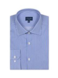 Germirli Non Iron K.Mavi Çizgili Tailor Fit Gömlek - Thumbnail