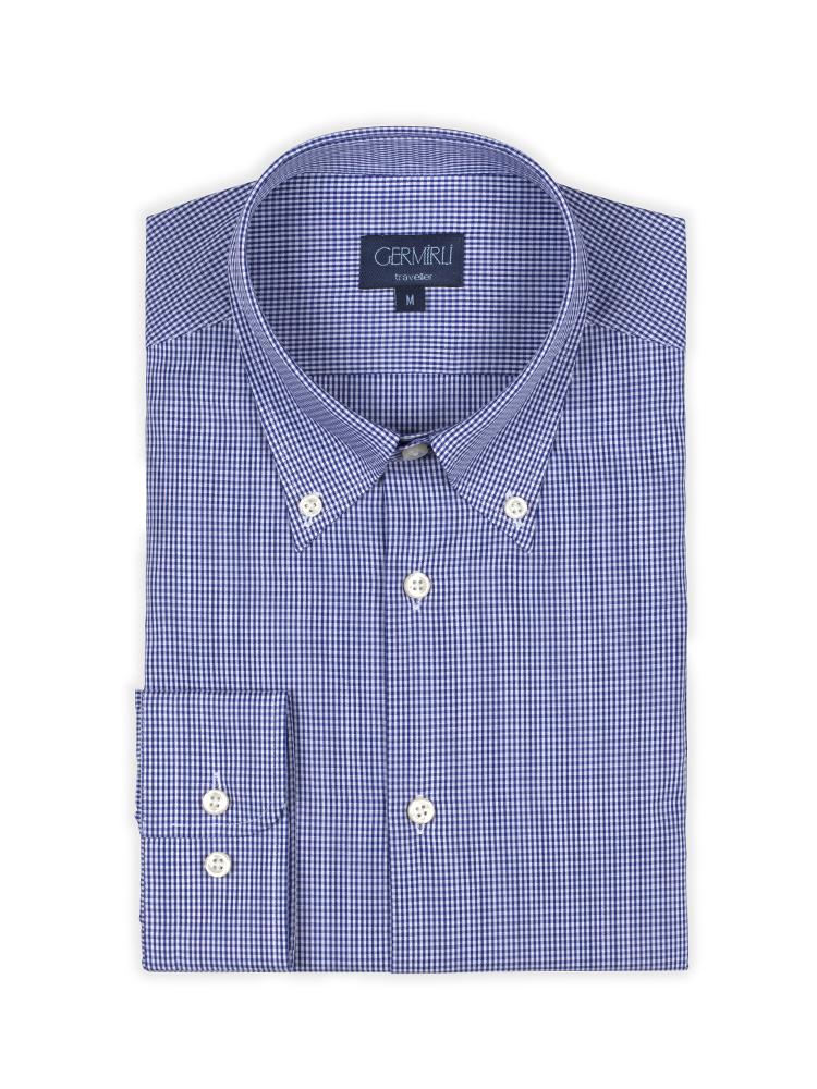 Germirli Non Iron K.Mavi Kareli Düğmeli Yaka Tailor Fit Gömlek