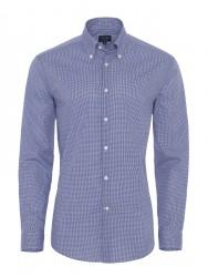 Germirli - Germirli Non Iron K.Mavi Kareli Düğmeli Yaka Tailor Fit Gömlek