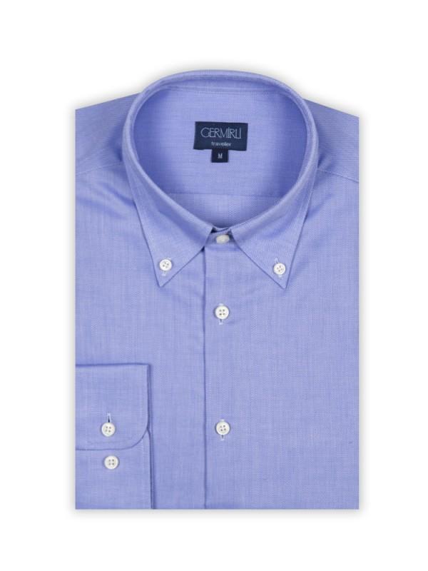 Germirli - Germirli Non Iron K.Mavi Oxford Düğmeli Yaka Tailor Fit Gömlek (1)