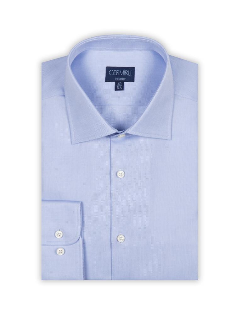 Germirli Non Iron K.Mavi Oxford Klasik Yaka Tailor Fit Journey Gömlek
